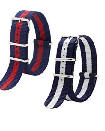 Set Replacement Watch Strap Nato Nylon Striped 20mm