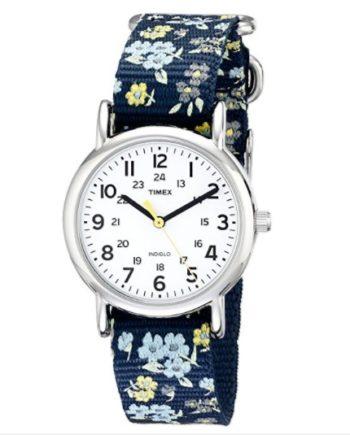 Timex Women's Floral Watch Weekender Blue Slip Thru Strap T2P370