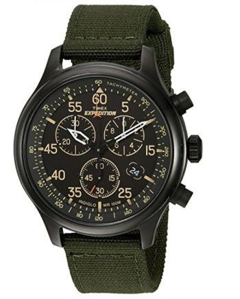 Timex Men's Chronograph Watch Expedition Field Green Canvas Strap TW4B10300