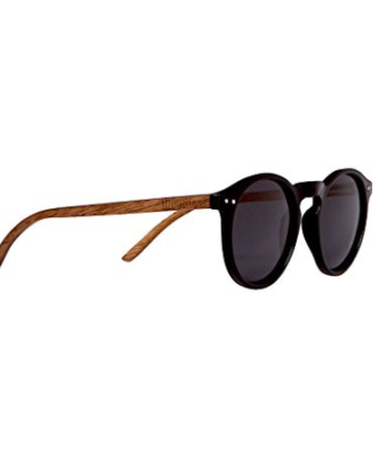 Polarized Foster Style Wood Sunglasses Walnut with Round Lens By WOODIES