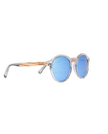a247125134 Polarized Acetate Sunglasses Round with Blue Lens in Wood Display Box By  WOODIES