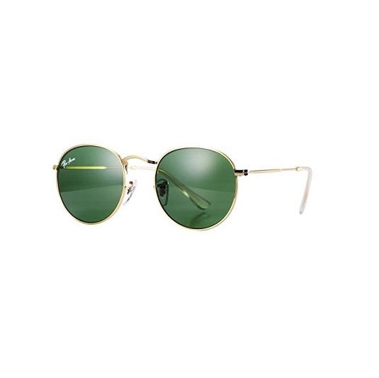 Retro round sunglasses gold frame & green lens