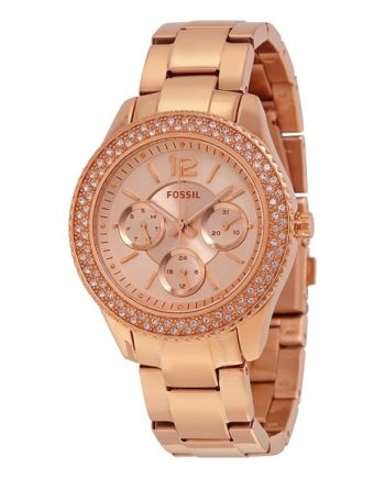Fossil Stella Rose Dial Rose Gold-tone Stainless Steel Ladies Watch