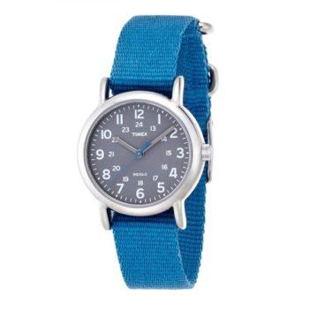 Timex Women's Weekender Mid-Size Watch Slip-Thru Blue Nylon Strap T2N913