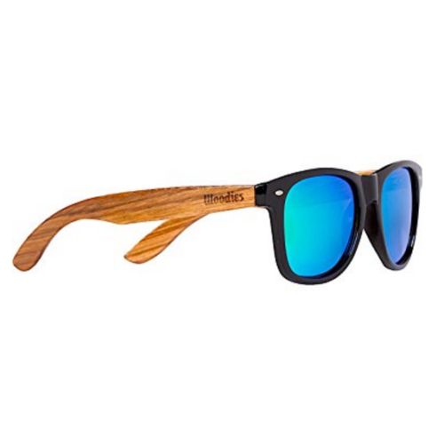 Polarized Zebra Wood Sunglasses with Green Mirror Lenses By Woodies