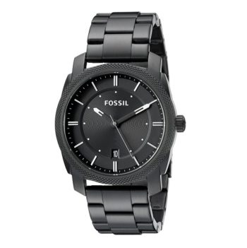 Fossil Machine Three Hand Stainless Steel Watch Black