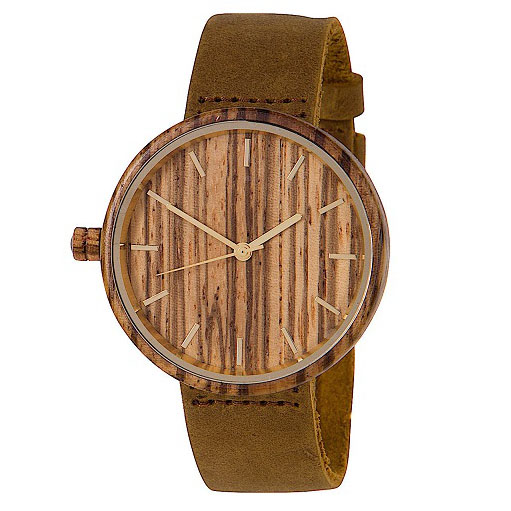 Wooden Watch with Leather Strap By Woodies