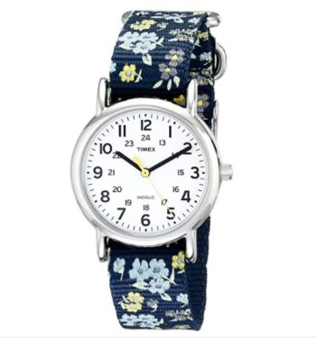 Timex Women's Floral Watch Weekender Blue Slip Thru Strap T2P370
