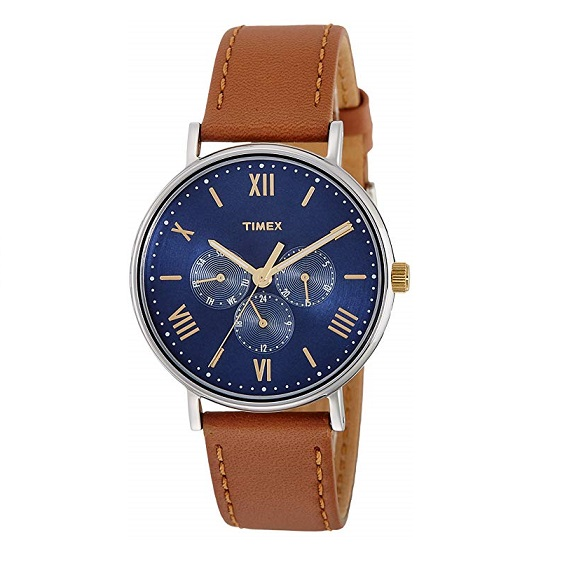 Timex Unisex Multifunction Watch Southview Tan/Blue Leather Strap TW2R29100
