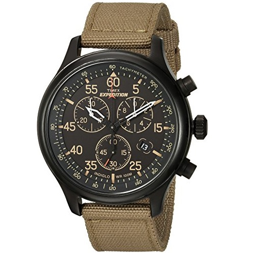 Timex Men's Chronograph Watch Expedition Field Black/Tan Canvas Strap TW4B10200