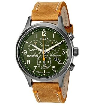 Timex Men's Chronograph Watch Expedition Leather Strap TW4B04400