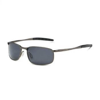 AEVOGUE Polarized Sunglasses For Men Rectangle Metal Frame Retro Sun Glasses (Gray & Black)