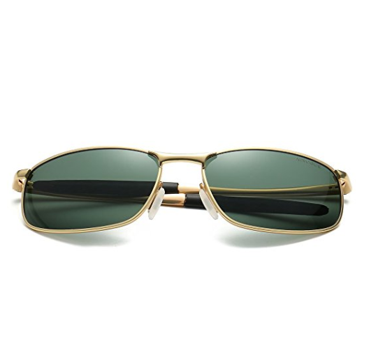 148a01d67e4cf Home / Men / Sunglasses / AEVOGUE Polarized Sunglasses For Men Rectangle  Metal Frame Retro Sun Glasses (Gold)