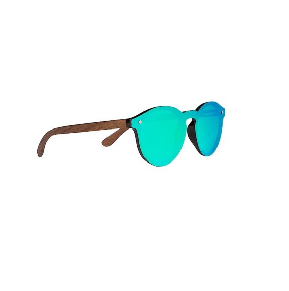 Wooden Foster Style Sunglasses with Flat Green Mirror Lens By Woodies