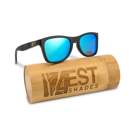 Black Bamboo Wood Sunglasses with Blue lenses By 4EST