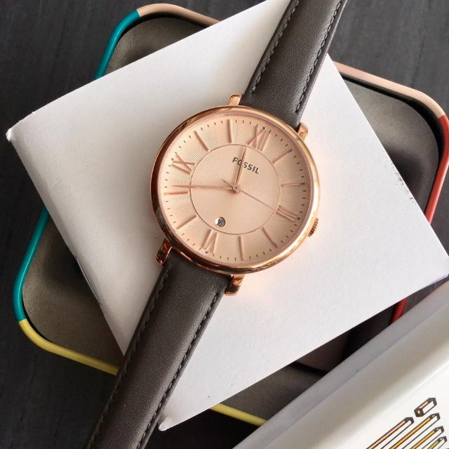 84a3ed06d Fossil Jacqueline Rose Dial Grey Leather Strap Ladies Watch ES3707 · Home  ...