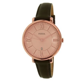 Fossil Jacqueline Rose Dial Grey Leather Strap Ladies Watch ES3707