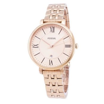 Fossil Jacqueline Rose Dial Rose Gold-tone Ladies Watch ES3435