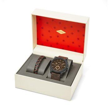 Fossil Machine Chronograph Dark Brown Dial Men's Watch Set FS5251SET