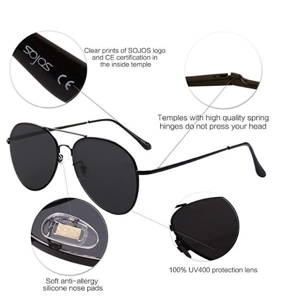 e65560566b SOJOS Classic Aviator Mirrored Flat Lens Sunglasses Metal Frame with Spring  Hinges SJ1030 – Black