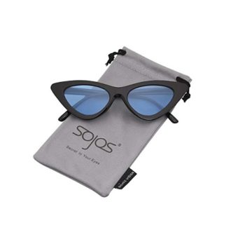 SOJOS Cat Eye Sunglasses Black frame Blue lenses