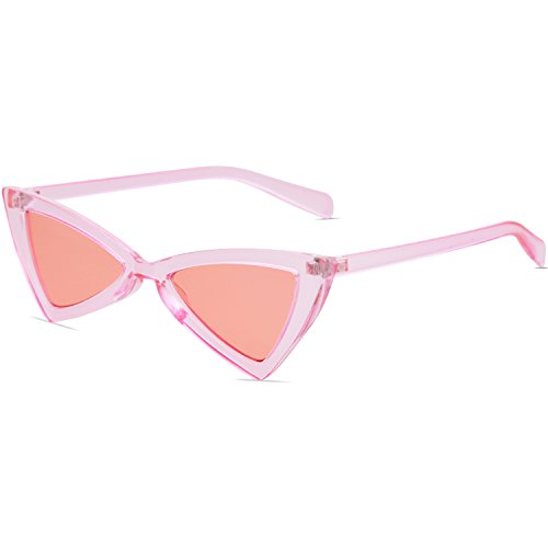 SOJOS Small Cateye Sunglasses for Women Men High Pointed Triangle Glasses SJ2051