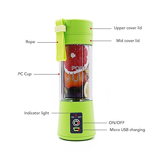 USB Juicer Cup by Huatop, Portable Juice Blender, Household Fruit Mixer - Six Blades in 3D, 380ml Fruit Mixing Machine with USB Charger Cable for Superb Mixing 2