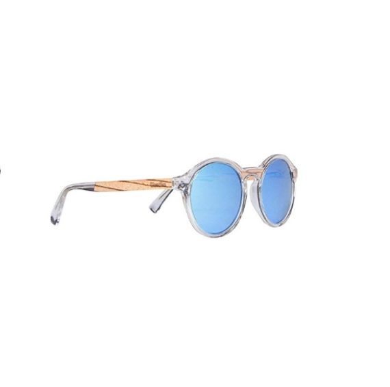 Polarized Acetate Sunglasses Round with Blue Lens in Wood Display Box By WOODIES