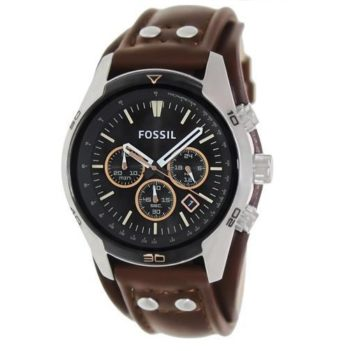 Fossil Coachman Chronograph Black Dial Brown Leather Men's Watch CH2891