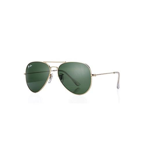 Pro Acme Aviator Crystal Lens Large Metal Sunglasses (Gold Frame/Crystal Green Lens)