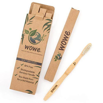 Organic Bamboo Toothbrush Soft BPA Free Bristles, Pack of 4 By Wowe 1