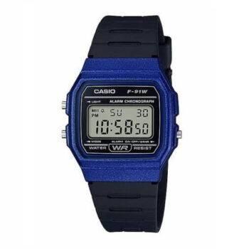 Casio Men's 'Vintage' Quartz Plastic and Resin Casual Watch F-91WM-2ACF Blue (1)
