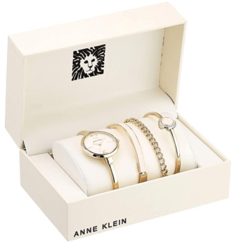 Anne Klein Women's Bangle Watch and Swarovski Crystal Accented Bracelet Set 1