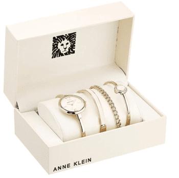 Anne Klein Women's Bangle Watch and Swarovski Crystal Accented Bracelet Set 1