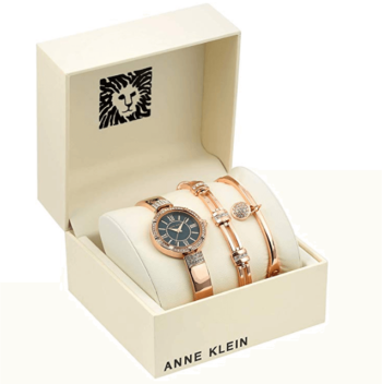 Anne Klein Women's Swarovski Crystal Accented Watch and Bracelet Set 1