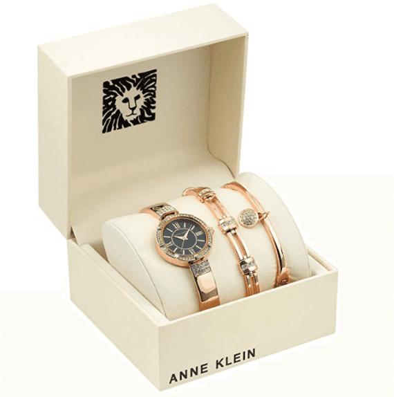 Anne Klein Women's Swarovski Crystal Accented Watch and Bracelet Set 1