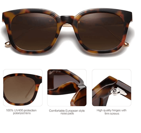 Classic Square Polarized Sunglasses Unisex UV400 By SOJOS 3
