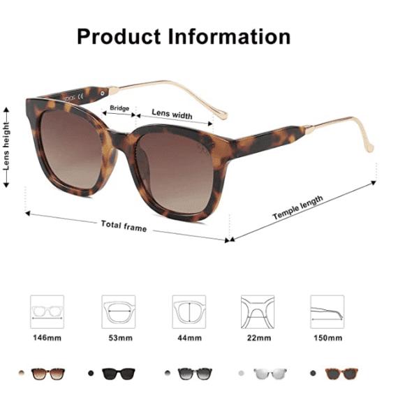 Classic Square Polarized Sunglasses Unisex UV400 By SOJOS 4