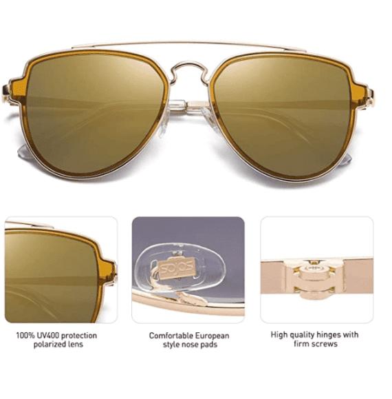 Polarized Aviator Sunglasses Unisex Mirrored Lens By SOJOS 3