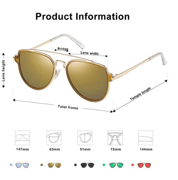 Polarized Aviator Sunglasses Unisex Mirrored Lens By SOJOS 4