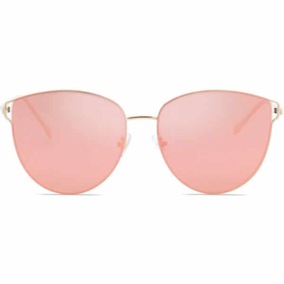 Women Mirrored Flat Lens Sunglasses Gold Frame Gradient Pink By SOJOS 1 (1)