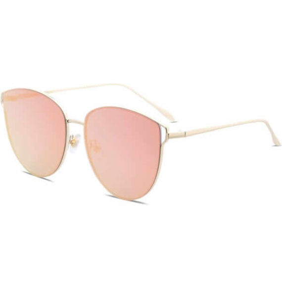 Women Mirrored Flat Lens Sunglasses Gold Frame Gradient Pink By SOJOS 3 (1)