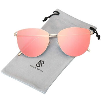 Women Mirrored Flat Lens Sunglasses Gold Frame Gradient Pink By SOJOS 4 (1)