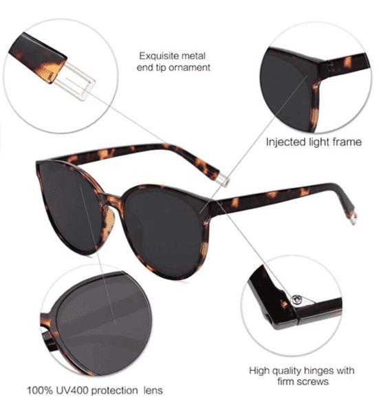 Women Oversized Round Sunglasses By SOJOS 4
