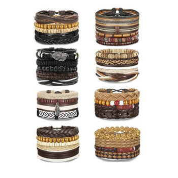Unisex Woven Leather & Wooden Beaded Bracelets 36Pcs