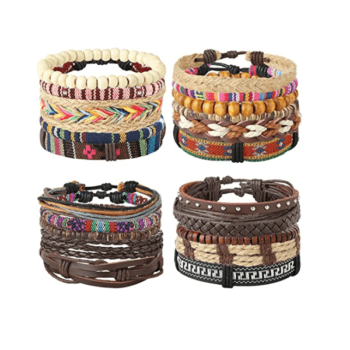 21 Pcs Unisex Leather Adjustable Bracelets