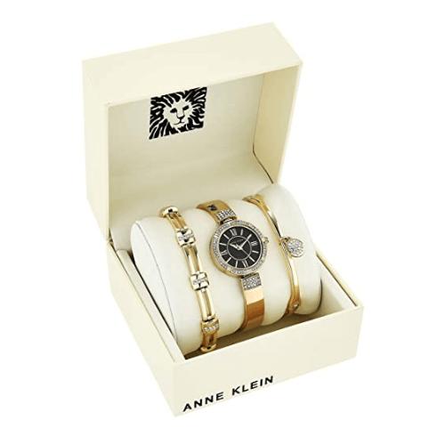 Anne Klein Women's Gold Swarovski Crystal Accented Watch and Bracelet Set 1