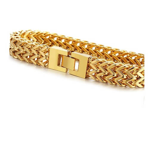 Gold Two-Strand Wheat Chain Bracelet for Men 8.5 inches