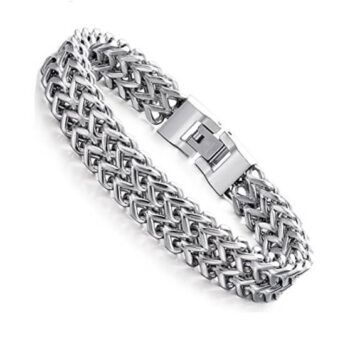 Sliver Two-Strand Wheat Chain Bracelet for Men 8.5 inches 4