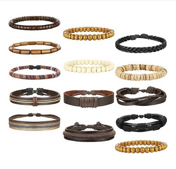 Unisex Woven Leather & Wooden Beaded Bracelets 26-28 Pcs